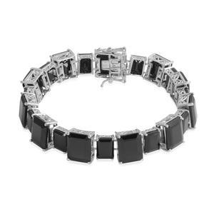 Thai Black Spinel Platinum Over Sterling Silver Bracelet (8.00 In) TGW 117.40 cts.