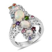 Ethiopian Welo Opal, Multi Gemstone Platinum Over Sterling Silver Elongated Ring (Size 5.0) TGW 2.580 cts.