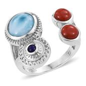 Tribal Collection of India Larimar, Mediterranean Coral, Lapis Lazuli Platinum Over Sterling Silver Open Ring (Size 6.0) TGW 6.130 cts.