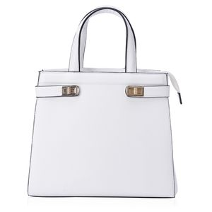 J Francis - White Faux Leather Tote Bag (13x4.5x11 in)