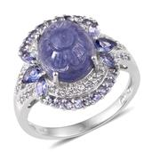 Tanzanite, White Topaz Platinum Over Sterling Silver Split Ring (Size 6.0) TGW 6.760 cts.