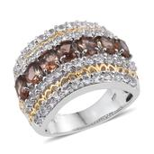 Jenipapo Andalusite, White Topaz 14K YG and Platinum Over Sterling Silver Ring (Size 5.0) TGW 5.19 cts.