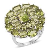 Hebei Peridot Platinum Over Sterling Silver Cluster Statement Ring (Size 8.0) TGW 13.900 cts.