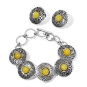 Yellow Quartzite ION Plated YG and Stainless Steel Earrings and Bracelet (6.50 In) TGW 35.000 cts.