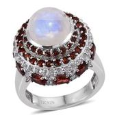 Sri Lankan Rainbow Moonstone, Mozambique Garnet, White Topaz Platinum Over Sterling Silver Ring (Size 8.0) TGW 8.90 cts.