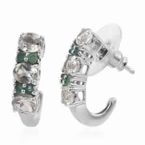 Turkizite, Kagem Zambian Emerald Platinum Over Sterling Silver J-Hoop Earrings TGW 2.820 cts.