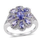 Tanzanite, White Topaz Platinum Over Sterling Silver Floral Split Ring (Size 9.0) TGW 3.89 cts.