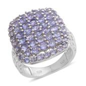 Tanzanite Platinum Over Sterling Silver Openwork Cluster Ring (Size 6.0) TGW 3.67 cts.