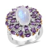 Sri Lankan Rainbow Moonstone, Amethyst, White Topaz 14K YG and Platinum Over Sterling Silver Ring (Size 7.0) TGW 9.955 cts.