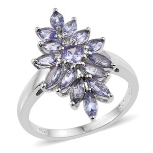 Tanzanite Platinum Over Sterling Silver Ring (Size 7.0) TGW 2.300 cts.