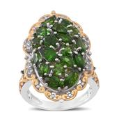 Russian Diopside, White Topaz 14K YG Over and Sterling Silver Ring (Size 7.0) TGW 4.010 cts.