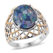 Australian Mosaic Opal 14K YG and Platinum Over Sterling Silver Openwork Ring (Size 8.0) TGW 5.70 cts.