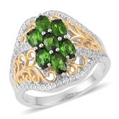 Russian Diopside, White Topaz 14K YG Over and Sterling Silver Openwork Ring (Size 8.0) TGW 2.10 cts.