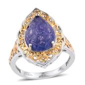Jewel Studio by Shweta Tanzanite 14K YG and Platinum Over Sterling Silver Ring (Size 6.0) TGW 4.650 cts.