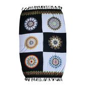 Black And White 100% Rayon Pareo Scarf (71x47 in)