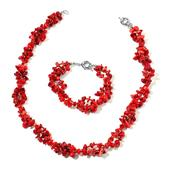 Bamboo Coral, Red Seed Bead Silvertone Bracelet and Necklace TGW 330.000 cts.