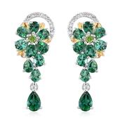 Lab Created Emerald, Multi Gemstone 14K YG and Platinum Over Sterling Silver Drop Earrings TGW 3.70 Cts.