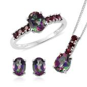 Northern Lights Mystic Topaz, Orissa Rhodolite Garnet Platinum Over Sterling Silver Ring (Size 10), Earrings and Pendant With Chain (20 in) TGW 5.75 cts.