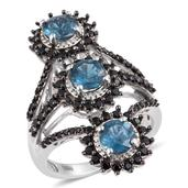 Teal Kyanite, Thai Black Spinel Platinum Over Sterling Silver Ring (Size 8.0) TGW 4.530 cts.