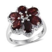 Mozambique Garnet, White Topaz Platinum Over Sterling Silver Ring (Size 8.0) TGW 6.380 cts.