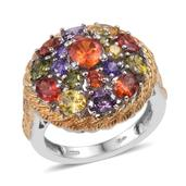 KARIS Collection - Simulated Multi Color Diamond ION Plated 18K YG and Platinum Bond Brass Ring (Size 7.0) TGW 9.040 cts.