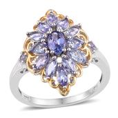 Tanzanite 14K YG and Platinum Over Sterling Silver Ring (Size 8.0) TGW 2.100 cts.