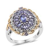 Tanzanite 14K YG and Platinum Over Sterling Silver Cluster Ring (Size 9.0) TGW 2.080 cts.