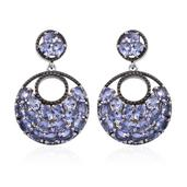 Tanzanite Platinum Over Sterling Silver Cluster Dangle Earrings TGW 6.00 cts.