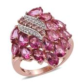 Pure Pink Mystic Topaz, Color Change Garnet, White Zircon 14K RG Over Sterling Silver Ring (Size 7.0) TGW 9.850 cts.