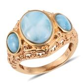Larimar 14K YG Over Sterling Silver Openwork Trilogy Ring (Size 6.0) TGW 9.950 cts.