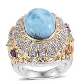 Larimar, Multi Gemstone 14K YG and Platinum Over Sterling Silver Statement Ring (Size 7.0) TGW 12.34 cts.