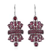 Jewel Studio by Shweta Orissa Rhodolite Garnet Platinum Over Sterling Silver Lever Back Earrings TGW 13.02 Cts.