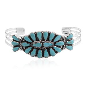 Santa Fe Style Turquoise Sterling Silver Concho Cuff TGW 20.000 cts.