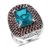 Capri Blue Quartz, Mozambique Garnet Platinum Over Sterling Silver Ring (Size 6.0) TGW 16.110 cts.