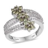 Ambanja Demantoid Garnet, White Zircon Platinum Over Sterling Silver Openwork Bypass Ring (Size 8.0) TGW 1.750 cts.