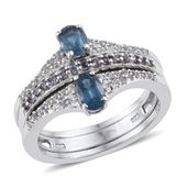 Teal Kyanite, Multi Gemstone Platinum Over Sterling Silver Band Ring with Guards (Size 7.0) TGW 1.95 cts.