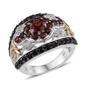 Mozambique Garnet, Thai Black Spinel, White Topaz 14K YG and Platinum Over Sterling Silver Ring (Size 8.0) TGW 4.370 cts.