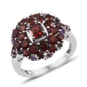 Mozambique Garnet, Multi Gemstone Platinum Over Sterling Silver Ring (Size 8.0) TGW 4.690 cts.