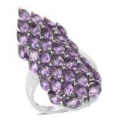 Bahia Amethyst Platinum Over Sterling Silver Elongated Cluster Ring (Size 5.0) TGW 8.24 cts.