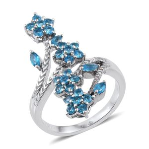 Malgache Neon Apatite Platinum Over Sterling Silver Elongated Bypass Ring (Size 7.0) TGW 1.700 cts.