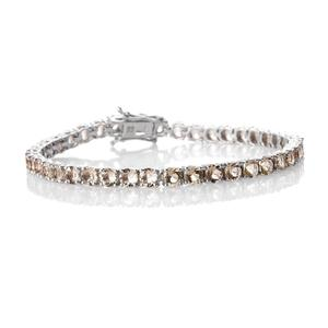 Marialite Platinum Over Sterling Silver Straight Line Bracelet (7.50 In) TGW 10.90 cts.