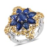 Himalayan Kyanite 14K YG and Platinum Over Sterling Silver Flower Ring (Size 8.0) TGW 5.20 cts.
