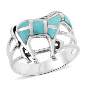 Santa Fe Style Kingman Turquoise Sterling Silver Horse Ring (Size 9.0) TGW 1.10 cts.
