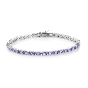 May TLV Tanzanite Platinum Over Sterling Silver Tennis Bracelet (8.00 In) TGW 9.00 cts.