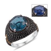 Color Change Fluorite, Thai Black Spinel 14K YG and Platinum Over Sterling Silver Ring (Size 8.0) TGW 13.10 cts.