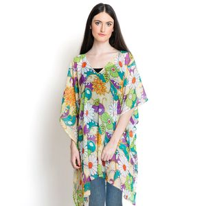 Yellow Large Floral Print 100% Polyester V-Neck Chiffon Poncho