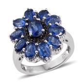 Himalayan Kyanite, Thai Black Spinel Platinum Over Sterling Silver Ring (Size 6.0) TGW 7.880 cts.