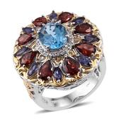 Rainbow Gems Electric Blue Topaz, Mozabique Garnet, Catalina Iolite 14K YG and Platinum Over Sterling Silver Ring (Size 6.0) TGW 7.850 cts.