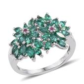 Lab Created Emerald, Ruby Platinum Over Sterling Silver Floral Cluster Ring (Size 10.0) TGW 2.360 cts.