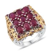 Niassa Ruby, Ruby 14K YG and Platinum Over Sterling Silver Openwork Ring (Size 6.0) TGW 11.050 cts.